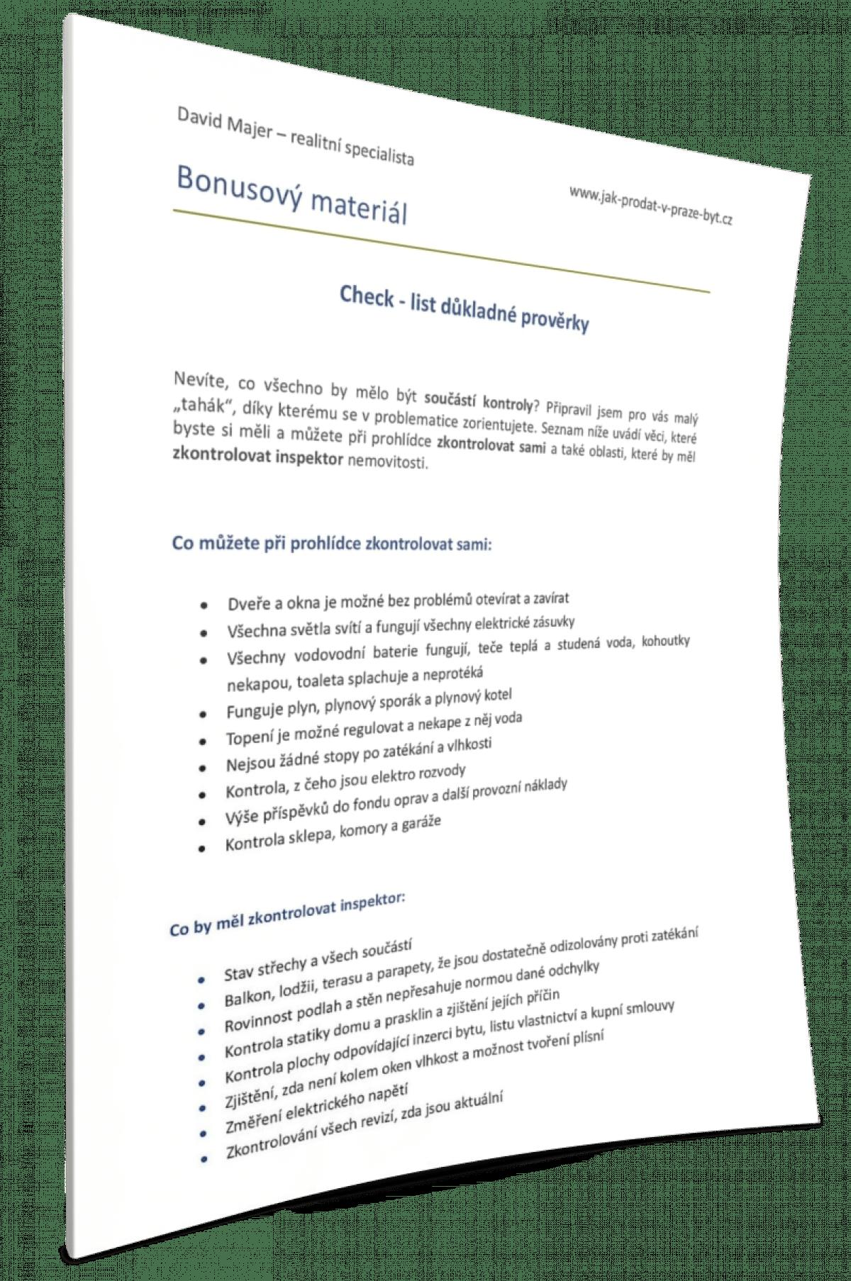 Check list inspekce nemovitostí