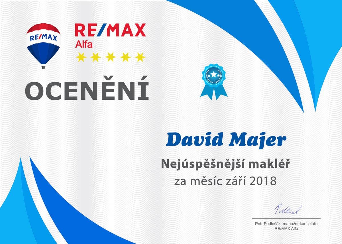 David Majer makléř měsíce RE/MAX Alfa září 2018