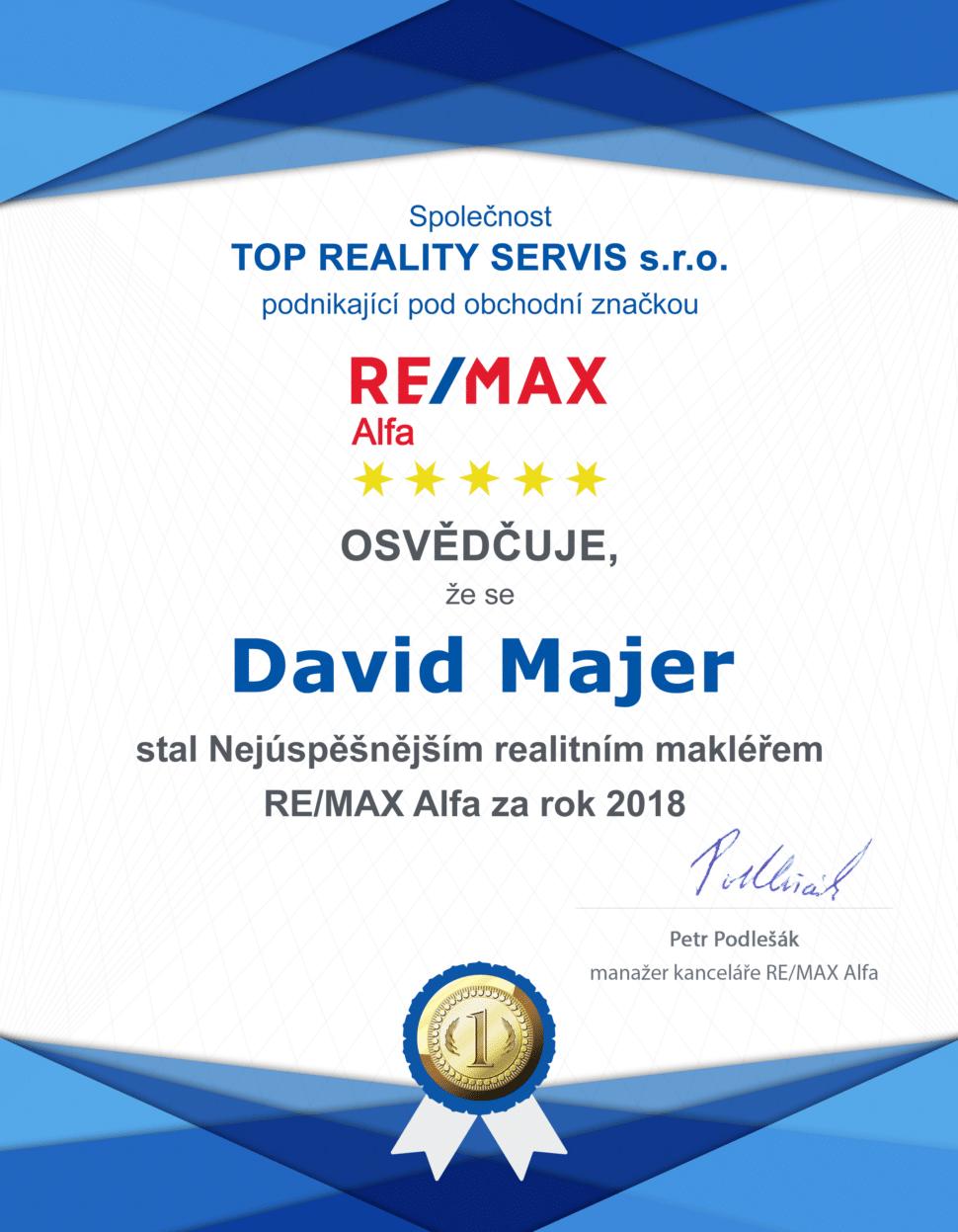 David Majer nejuspesnejsi makler REMAX Alfa 2018