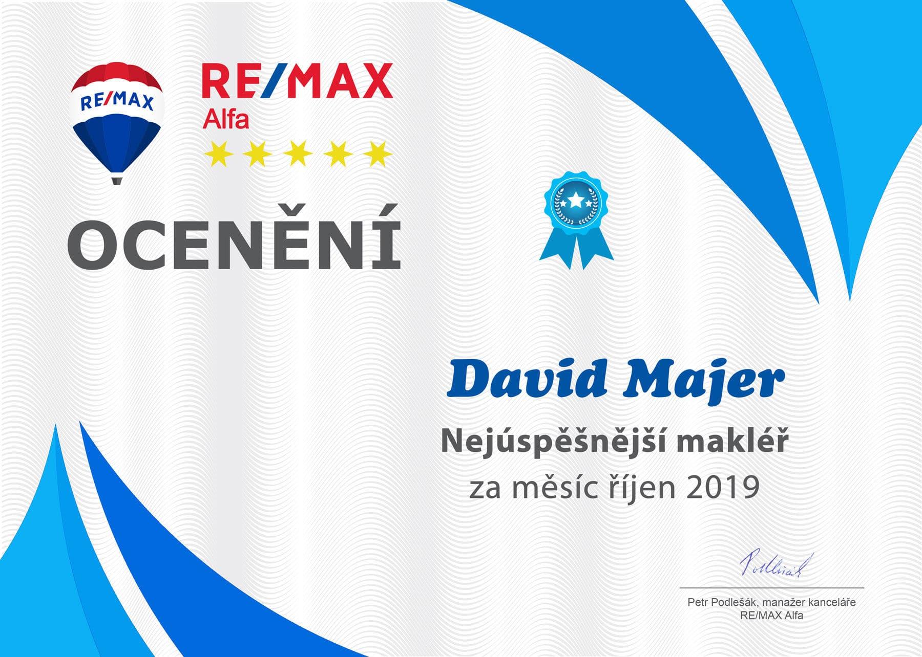 REMAX makléř měsíce David Majer