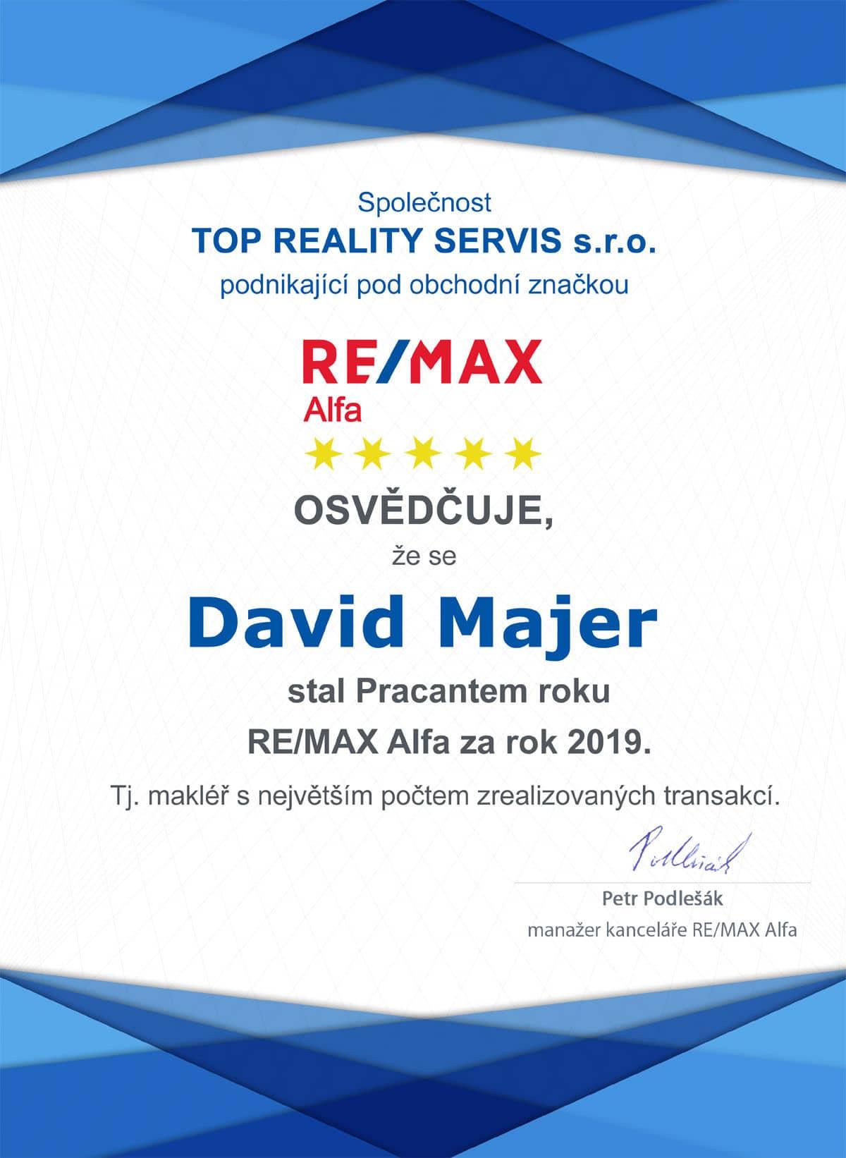 David Majer nejvíce prodaných nemovitostí