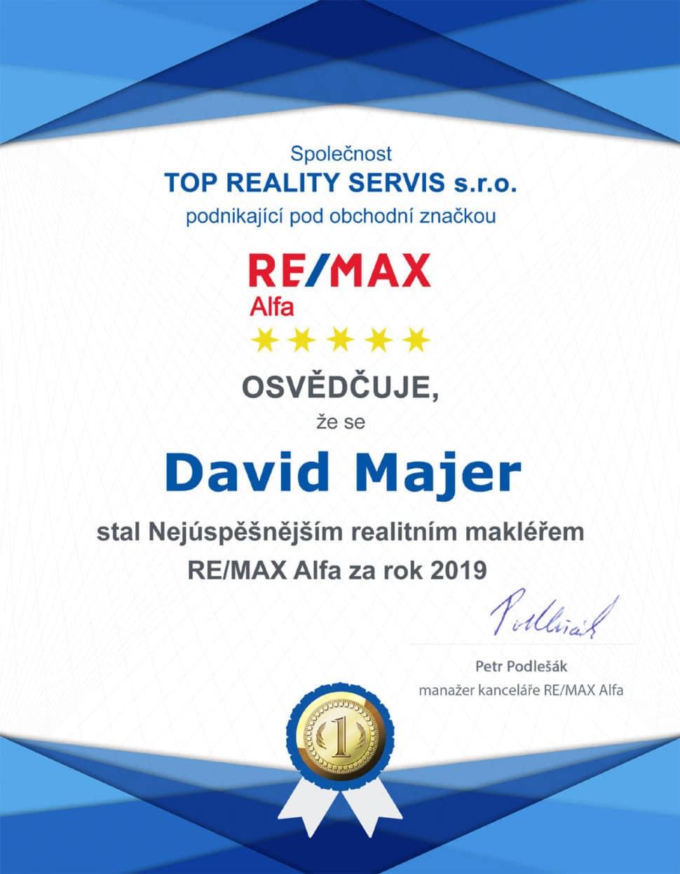 David Majer nejlepší makléř RE(MAX Alfa 2019